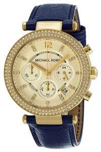 Michael Kors Crystal Pave Gold Tone Blue Leather Designer Ladies Watch