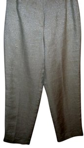 Talbots Shimmer Shine Metallic Trouser Pants Ivory
