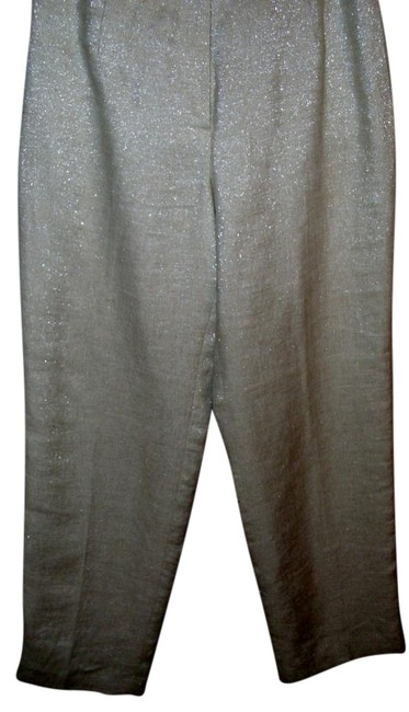 Item - Ivory Neutral Metallic Shimmer Ined Linen Pants Size 4 (S, 27)