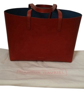 Mansur Gavriel Leather Brown Tote in Brandy/Avion