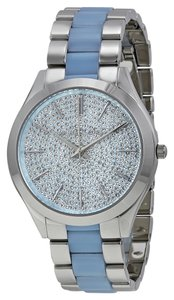 Michael Kors Chambray Crystal Pave Dial Silver Tone Ladies Blue Watch