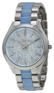 Michael Kors Crystal Pave Dial Blue Chambray Silver Ladies Designer Watch