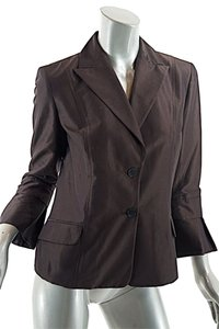 Carolina Herrera Chocolate Cotton/silk Jacket Bell Sleeve Brown Blazer