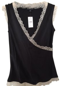 Banana Republic Trim Top Black Silk with Ivory Lace