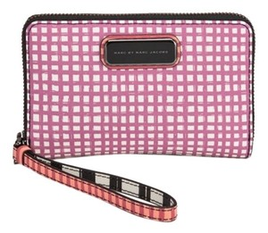 Marc by Marc Jacobs NEW Marc Jacobs Gingham Check Stripe Leather Phone Wristlet Wallet Bag Clutch Tags NWT!