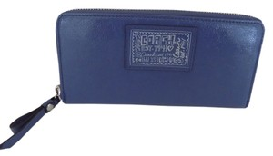 Coach POPPY ZIP AROUND LEATHER WALLET BLUE