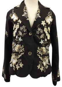 Paparazzi Embroidered Floral Front Flap Brown Blazer
