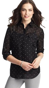 Ann Taylor LOFT Heart Preppy Sheer Soft Sexy Button Down Shirt Black