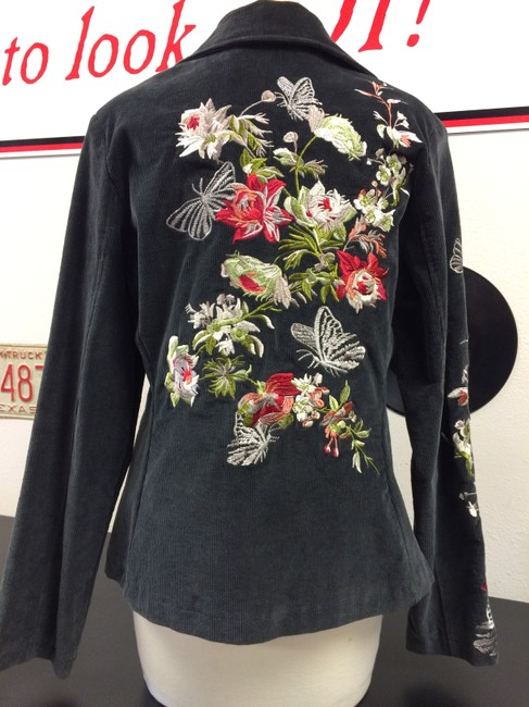 Paparazzi Corduroy Embroidered Floral Front Flap Charcoal Blazer