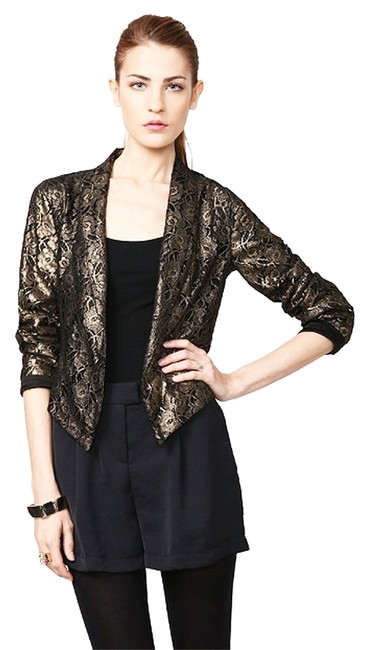 W118 by Walter Baker Metallic Lace Night Out Date Night Cocktail Gold Blazer Image 0