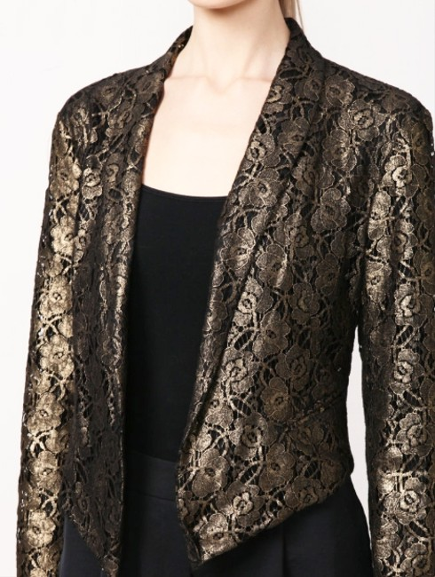 W118 by Walter Baker Metallic Lace Night Out Date Night Cocktail Gold Blazer