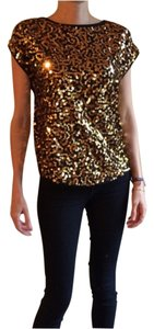 The Limited Top Black sequin gold