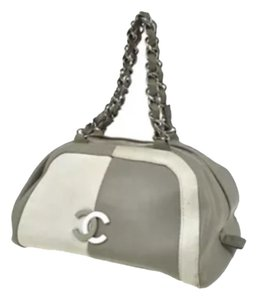 Chanel Satchel in Light Grey& White Squares