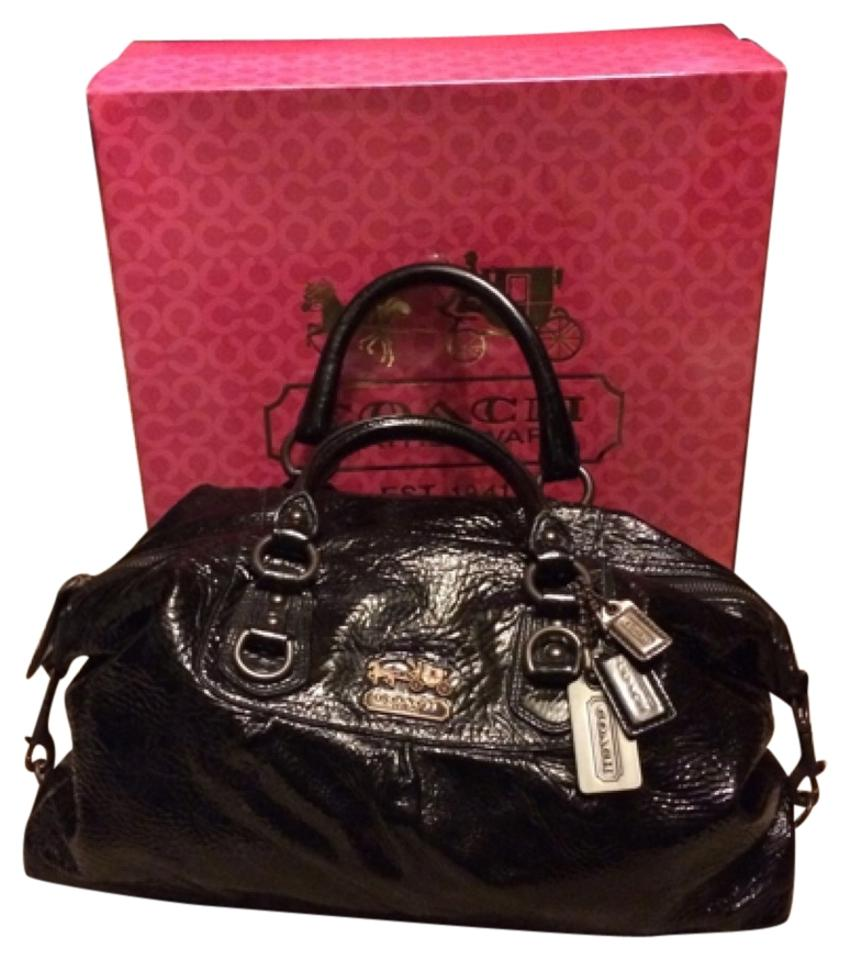 Coach Limited Edition Rare Crinkle Patent Leather Madison Sabrina  Convertible Black Hobos Satchel ... fde884c122dc1