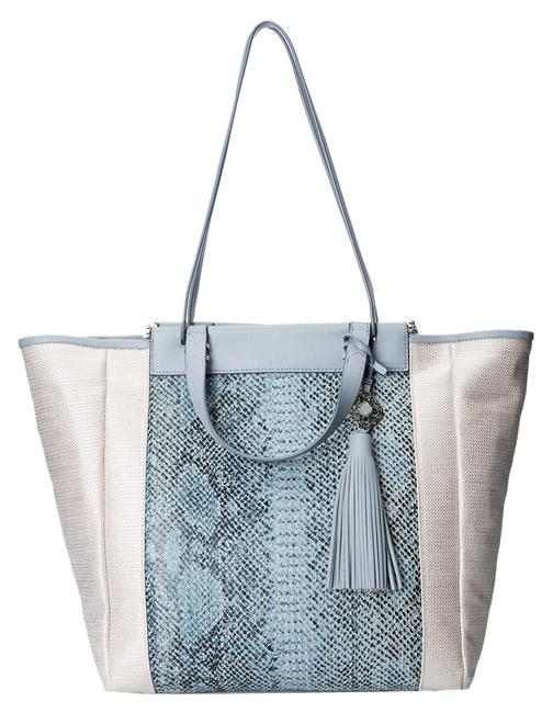 Item - New York Joey Silver Metallic Textile and Leather Tote