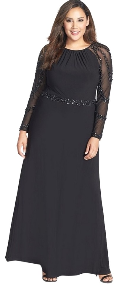 Marina Black Beaded Evening Gown Long Formal Dress Size 16 (XL, Plus 0x)