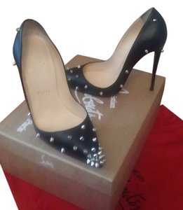 Christian Louboutin Degraspike Studded Leather Black Pumps