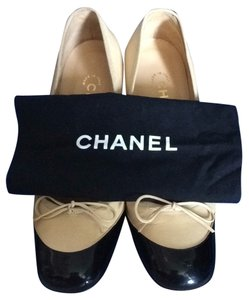 Chanel Nude & Black Patent Leather Pumps