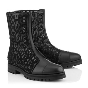 Jimmy Choo Genuine Leather Combat Laser Cut New black Boots