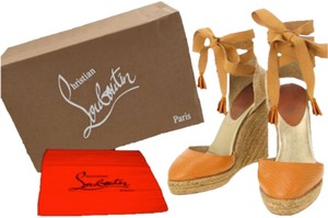 Christian Louboutin TAN WITH A HINT OF ORANGE Wedges