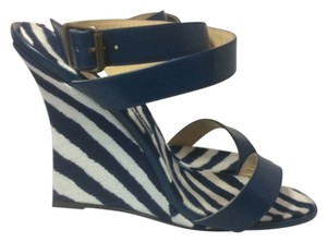 Manolo Blahnik Blue/White Wedges