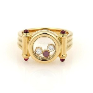 Chopard Chopard 18k Yellow Gold Happy Diamonds Ruby Floating Circle Design Ring
