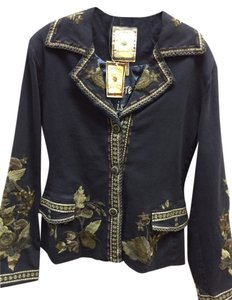 Paparazzi Embroidered Floral Denim Front Flap Navy Blazer