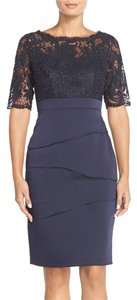 Adrianna Papell Short Sleeve Lace & Crepe Sheath Cocktail Dress