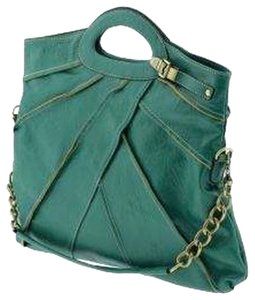 Melie Bianco Gold Hardware Convertible Faux Leather Party Casual Satchel in Green