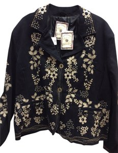 Paparazzi Embroidered Embellished Floral Pockets Black Blazer