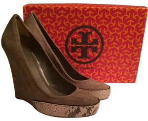 Tory Burch Animal Print Wedge Taupe Wedges