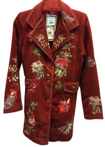 Paparazzi Embroidered Wool Floral Front Flap Coat