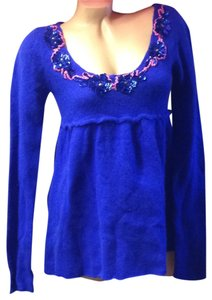 Free People Cobalt Vintage Wool Cashmere Open Back Bow Rabbit Soft Sweater Embroidered Embellished Babydoll Boho Bohemian Cute Mod Top Blue