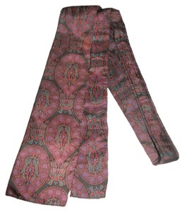 VINTAGE LADIES SILK TIE SCARF * MAUVE/ GRAY * 46