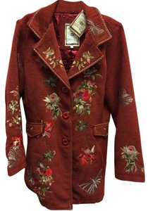Paparazzi Embroidered Wool Long Floral Front Flap Coat