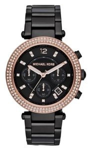 Michael Kors NWT Michael Kors Parker Chronograph Black Dial Black Ion-plated Ladies Watch