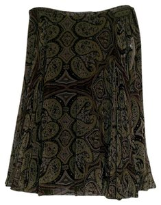 Antonio Melani Silk Pleated Lined Skirt Multi green, black, plum paisley print