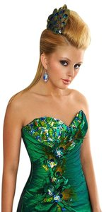Precious Formals Peacock Feathers Prom Prom Dress