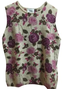 Ann Taylor LOFT Smart Casual Lambswool Rabbit Hair Top Floral Pink & Purple
