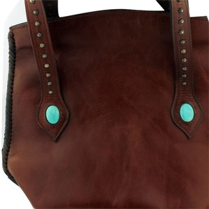 Boho Studded Tote in Brown