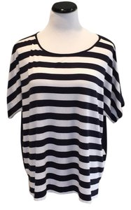 Chico's Striped And White Top Navy blue