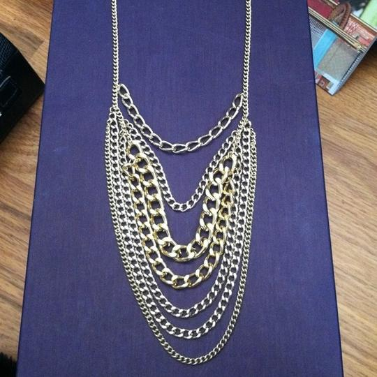 Other Long layered chain necklace gold.