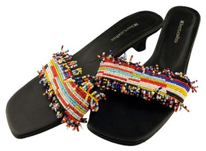 Details Beaded Slip On Black/multi Sandals