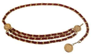 Chanel RARE CHANEL GOLD PLATED RED LEATHER TRIPLE CHAIN CC MEDALLION BELT