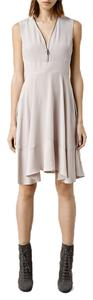 AllSaints Lake Silk Draped Versatile Day-to-night Zip Dress