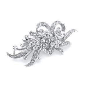 Mariell Vintage Crystal Wedding Brooch 353p