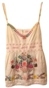 fourtys Vintage Floral Festival Bohemian Boho Hippie Flower Child Top White With Multicolored Embroidery