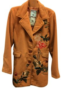 Paparazzi Wool Embroidered Jacket Long Floral Front Flap Coat
