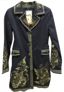 Paparazzi Embroidered Jacket Long Floral Denim Coat
