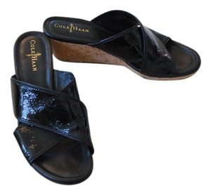 Cole Haan Wedge Black and Cork Sandals